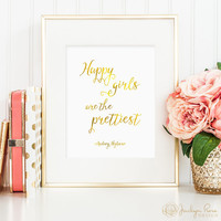 Happy Girls Are The Prettiest, Audrey Hepburn quote, printable wall art decor, faux gold foil, office or bedroom art, digital download JPG