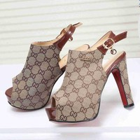 GUCCI Classic Trending Women Stylish Princess High Heels High-Heeled Shoes Sandals