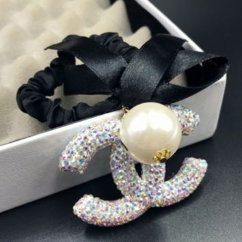 Chanel new hairpin fashion small incense double-sided rhinestone ribbon bow hair rope