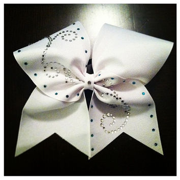"White With Teal and Rhinestone Swirl  on 3"" Grosgrain Cheer Bow"
