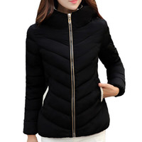 Multi-pockets Zipper Padded Parka Hooded Coat