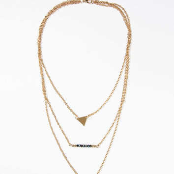 Golden Multilayer Beaded Triangle And Coin Pendant Necklace