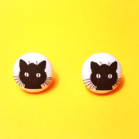 "Handmade ""Creepy Kitty"" Halloween Black Cat Fabric Button Earrings dize 3/4"""