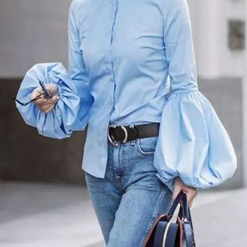 Blue Ruffle Bell Sleeve High Neck Single Breasted Fashion Blouse