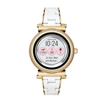 Michael Kors Access, Women's Smartwatch, Sofie Gold-Tone Stainless Steel with White Silicone, MKT5039