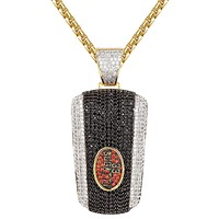 Sterling Silver Black Luxury Car Key Remote Iced Out Pendant