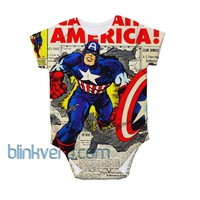 Captain america full print awesome baby Onesuit bodysuite