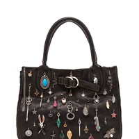 Black Multi Charm and Jeweled Small Leather Junk Bag