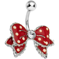 Dandy Red Polka Dot Bow Belly Button Ring | Body Candy Body Jewelry