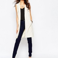 Noisy May Tall Longline Sleeveless Trench Coat at asos.com