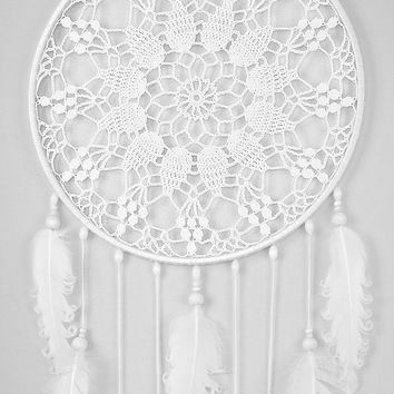 Large White Dream Catcher Handmade Crochet Doily Dreamcatcher white curly feathers boho dreamcatchers wall hanging wall decor wedding decor