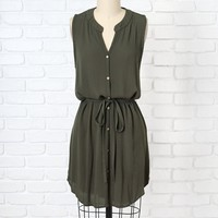 Olive Linen Button-Up Dress