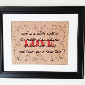 Fairy Tale Love 11x14 Framed Tan Burlap Print