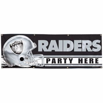 OAKLAND RAIDERS PARTY HERE 2'X6' INDOOR OUTDOOR VINYL BANNER BRAND NEW WINCRAFT