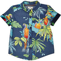 River Island Mini boys navy parrot print shirt