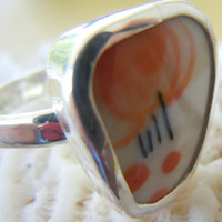 Broken China Ring Chaney Sterling Silver Ring Orange Black Flowers Any Size 100% Handmade