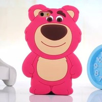 3D Cute Disney Cartoon Lotso Bear Silicone Soft Case For iPhone 5/5S/6/6 Plus