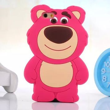 huge selection of ef98b 8d82b 3D Cute Disney Cartoon Lotso Bear Silicone Soft Case For iPhone 5/5S/6/6  Plus