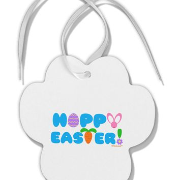 Cute Decorative Hoppy Easter Design Paw Print Shaped Ornament by TooLoud