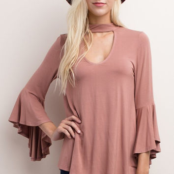 Pink Bell-Sleeve Dressy Top