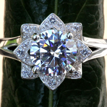 CERTIFIED - UNIQUE Flower Rose Lotus Diamond Engagement or Right Hand Ring - 1.50 carat - Plain band- GIA - Egl - Igi