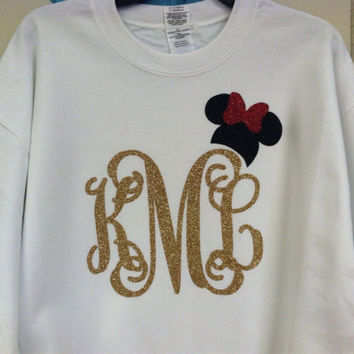 Adult Disney Minnie or Mickey Mouse Glitter Monogrammed Sweatshirt