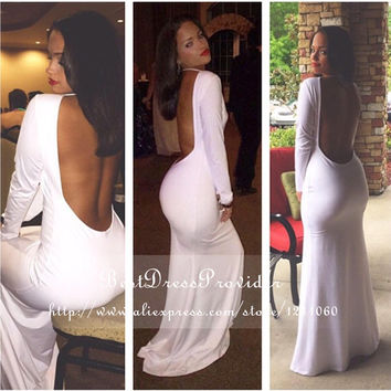 Long Elegant Prom Dresses 2016 Gorgeous Halter Long Sleeve Backless Floor Length White Spandex Mermaid Prom Dress