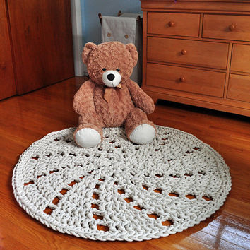 Pinwheel Rug - Round Crochet Cotton Rope Rug  - OOAK home decor