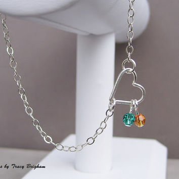 Gift Personalized Birthstone Swarovski Crystals Heart Sterling Silver Wire Pendant Bracelet Best Friend Bridesmaid Mother Sister Wife