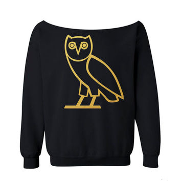 OVO Owl Sweatshirt Drake Shirt BLACK off the shoulder slouch jumper wide neck boat neck all sizes