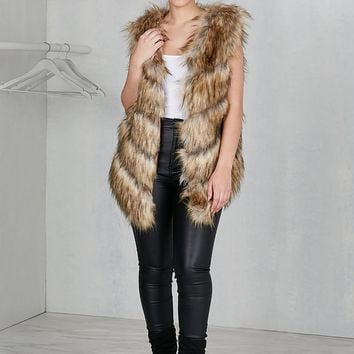 Statement Faux Fur Vest (Brown)