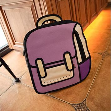 Student Backpack Children AEQUEEN 3D Printing Canvas Backpacks 2D Drawing Cartoon School Back Pack Bag Cute Student Schoolbag Messenger Feminine Backpack AT_49_3