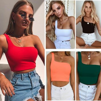 Sexy One Shoulder Crop Top Summer One Piece Dress [1914361282614]
