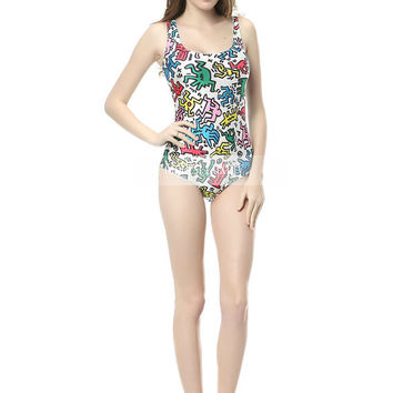 Color animation Swimsuit-Printed black one piece swimsuit- Low Back-Dance Leotard-Bathing Beach-one piece swimsuit