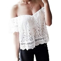 FINEJO Lady Women White Lace Off Shoulder Loose Blouse Crop Tops