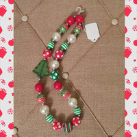 Girls Christmas Tree Polka Dot Stripe Chunky Necklace - Chevron - Baby Photo Necklace - Photo Prop - Christmas Gift