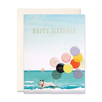 Splashing Dog Birthday Card