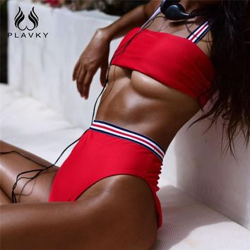 PLAVKY 2018 Sexy Striped Bandage High Waist Biquini Bandeau Swim Bathing Suit High Cut Swimsuit Thong Swimwear Women Bikini Set