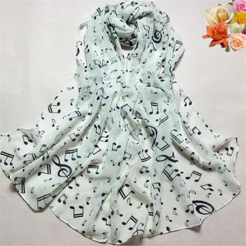 Women's Musical Chiffon Print Scarves.   Available in White, Black and Beige.    53 X 69 Inches.   ***FREE SHIPPING***