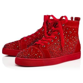 ONETOW Best Online Sale Christian Louboutin Cl Galaxtidude Flat Rougissime Suede 17s S
