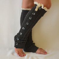 Leg warmers- dark grey cable knit slouchy open button down lace leg warmers knit lace leg warmers boot socks christmas gifts