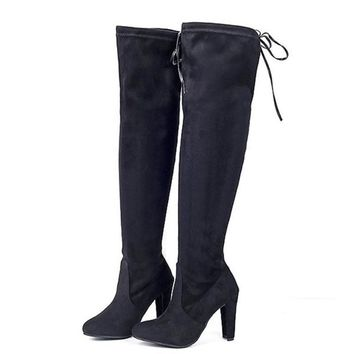 Stretch Faux Suede Female Women Boots Slim Thigh High Boots Sexy Fashion Over Knee Boots High Heels Women Shoes
