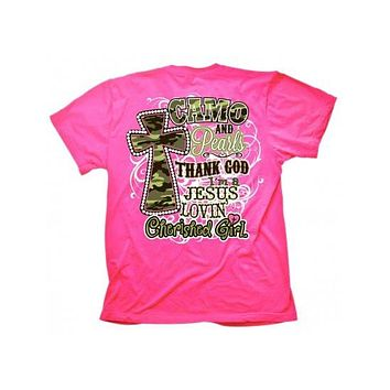Cherished Girl Camo & Pearls Jesus Lovin Country Girl Cross Girlie Christian Bright T Shirt
