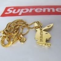 Supreme Playboy Bunny 14K Gold Plated Engraved Pendant & Chain