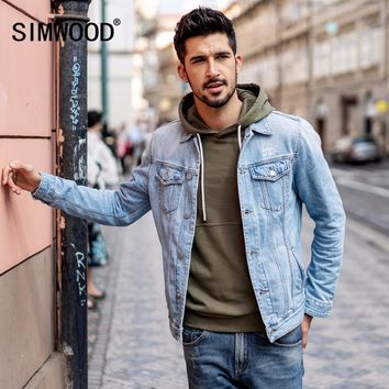 SIMWOOD 2018 New Arrival Denim Jacket Men Fashion Slim Fit Cotton Brand Clothing Vintage Outwear Male Plus Size Trucker  180090