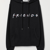 Hooded Sweatshirt with Motif - Black/Friends - Ladies | H&M US