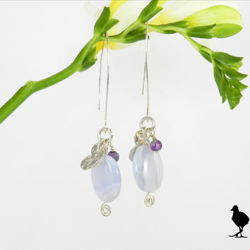 Hammered Sterling Silver slim drop earrings. Lavender Chalcedony drop with amethyst and XO stamped heart charm