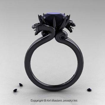 Art Masters 14K Black Gold 3.0 Ct Black Moissanite Dragon Engagement Ring R601-14KBGBM