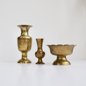 Vintage Brass Vases Set of 3 Matching Brass Bowl and 2 Matching Brass Vases with Etched Flower Design Instant Collection