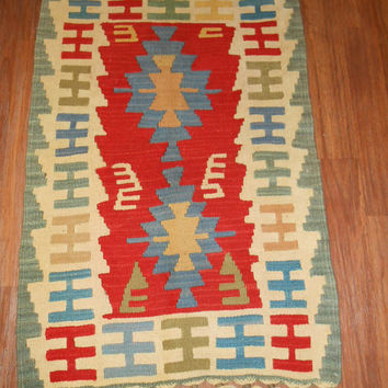Anatolia Turkish Rug Hand Woven Kelim Hand Knotted Wool Mat Geometric Traditional Folk Art Area Rug 23''x 35 ''